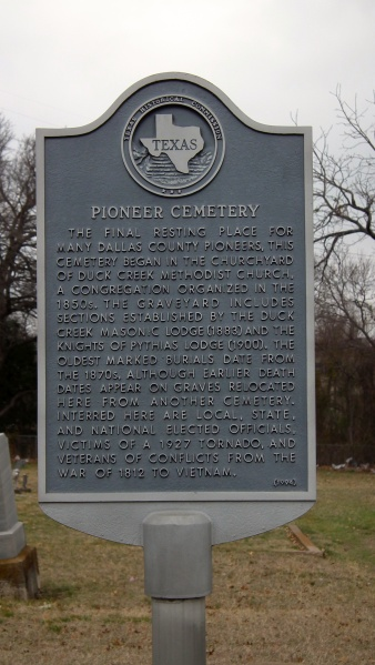 The Garland Pioneer Cemetery, noting the earlier Duck Creek settlement.