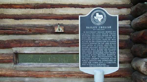 Historical marker for Bailey Inglish, Bonham, Texas.