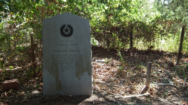 Historical marker near site of Holland Coffee's trading post, Lake Texoma.