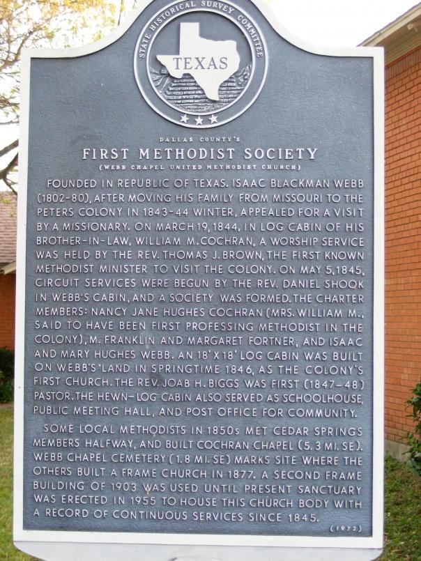 Historical Marker at Webb Chapel UMC